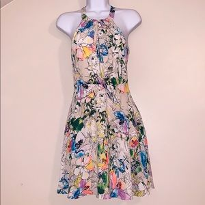 Express halter top A line colorful flowered dress